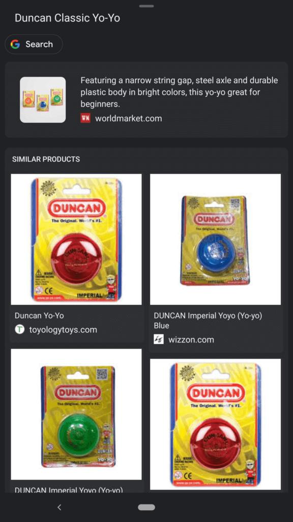 Visual Search Result Yo Yo Shopping