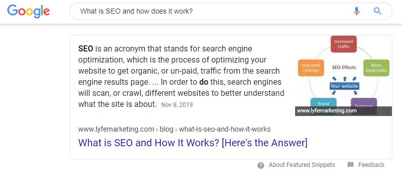What is SEO and how does it work? Google answer box